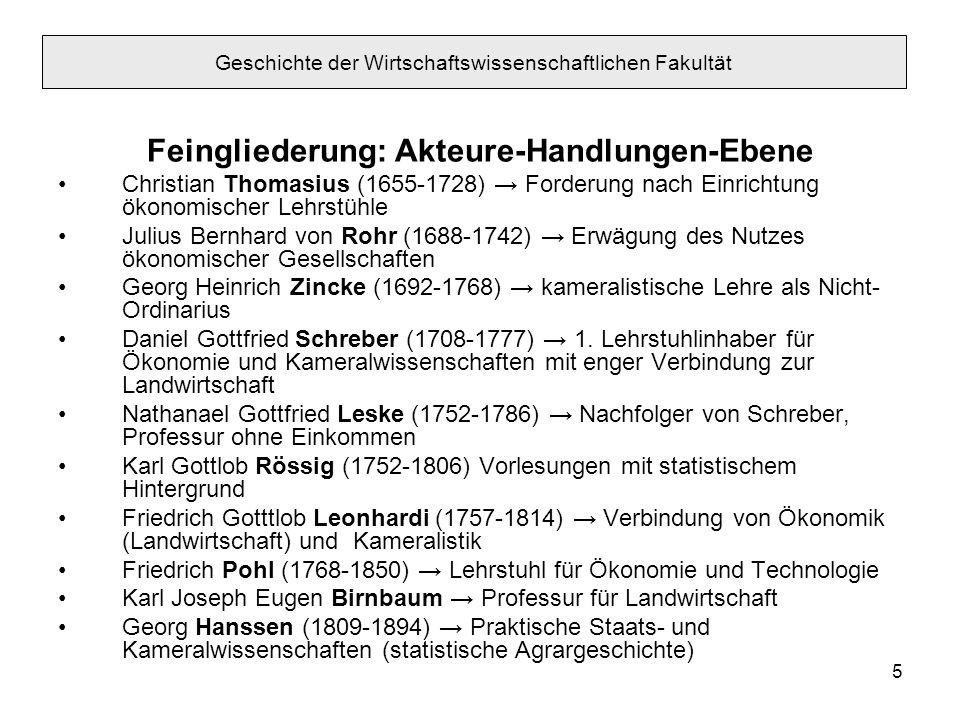 5 Feingliederung: Akteure-Handlungen-Ebene Christian Thomasius (1655-1728) Forderung nach Einrichtung ökonomischer Lehrstühle Julius Bernhard von Rohr