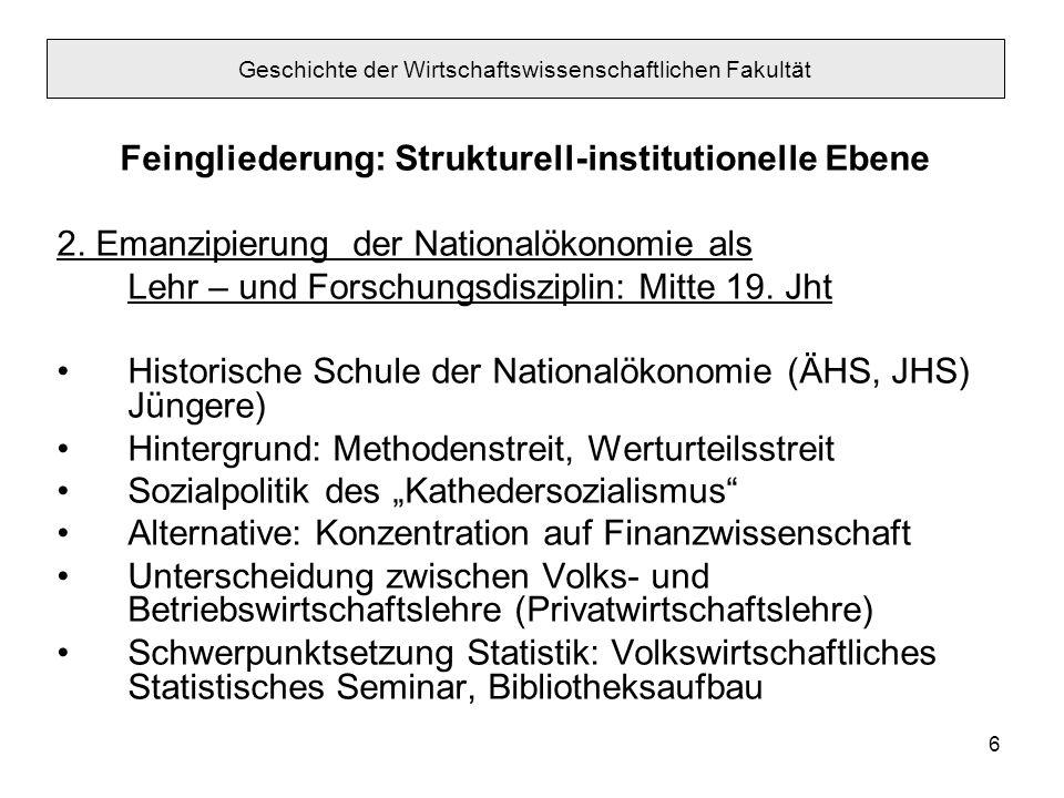 6 Feingliederung: Strukturell-institutionelle Ebene 2. Emanzipierung der Nationalökonomie als Lehr – und Forschungsdisziplin: Mitte 19. Jht Historisch