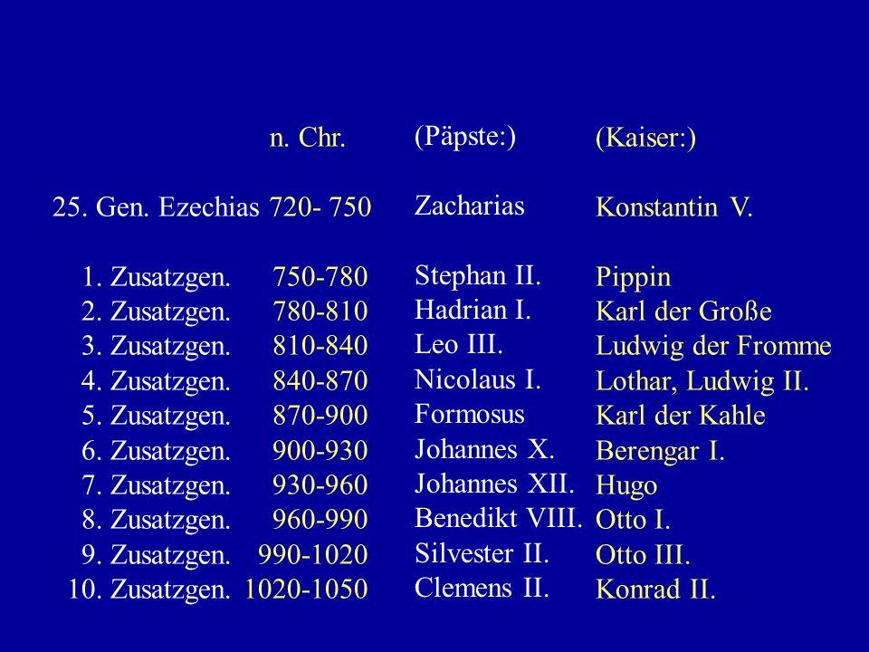 n. Chr. 1. Gen. Jakob 0- 30 2. Gen. Judas 30-60 3. Gen. Phares 60-90 24. Gen. 690-720 (Päpste:) Christus Petrus Linus, Cletus Gregor II. (Kaiser:) Aug
