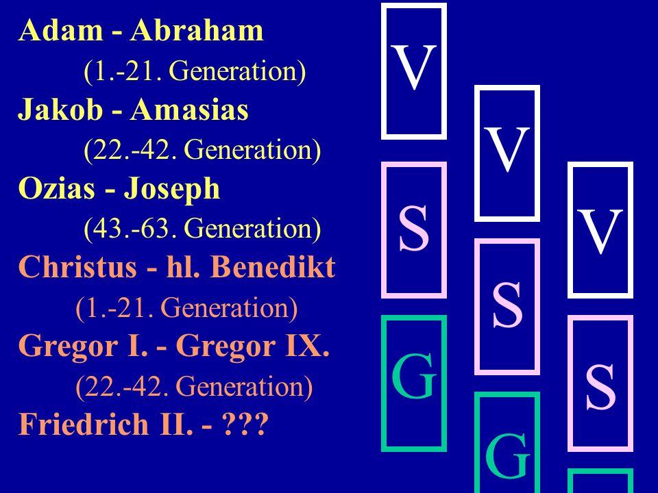n. Chr. 25. Gen. Ezechias 720- 750 1. Zusatzgen. 750-780 2. Zusatzgen. 780-810 3. Zusatzgen. 810-840 4. Zusatzgen. 840-870 5. Zusatzgen. 870-900 6. Zu