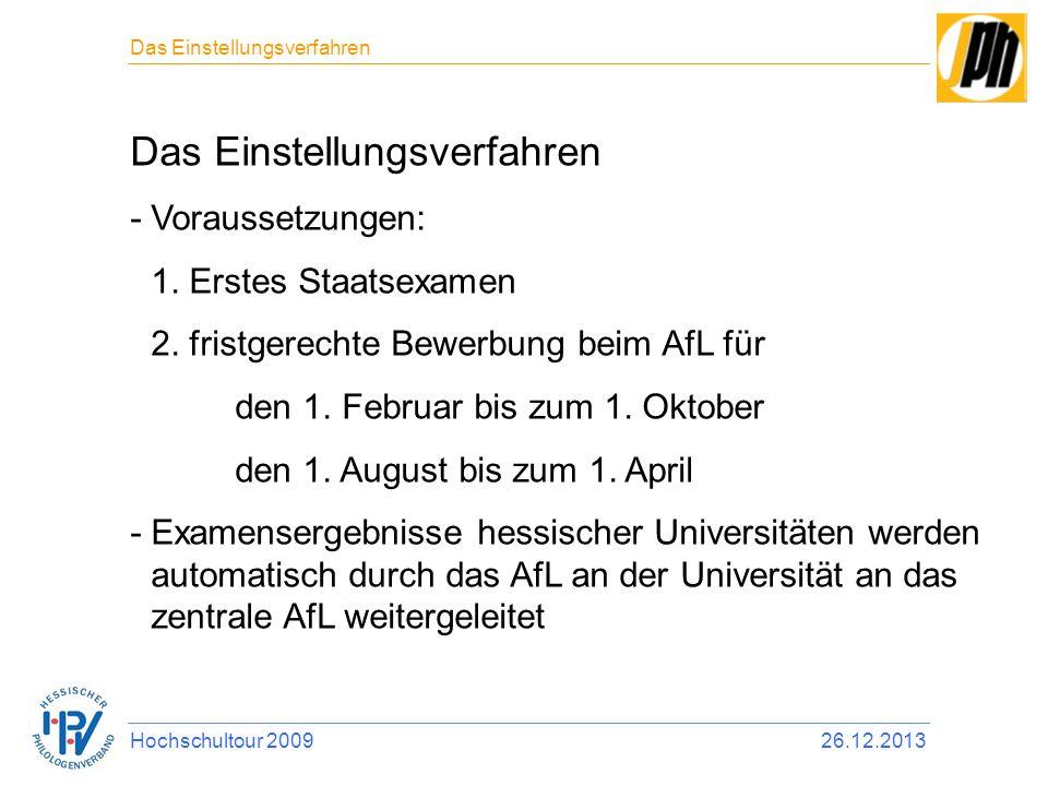 Das Einstellungsverfahren -Voraussetzungen: 1. Erstes Staatsexamen 2. fristgerechte Bewerbung beim AfL für den 1. Februar bis zum 1. Oktober den 1. Au