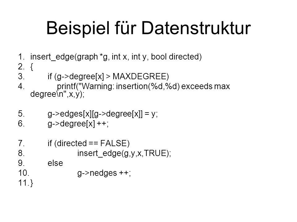 Beispiel für Datenstruktur 1.insert_edge(graph *g, int x, int y, bool directed) 2.{ 3.if (g->degree[x] > MAXDEGREE) 4. printf(