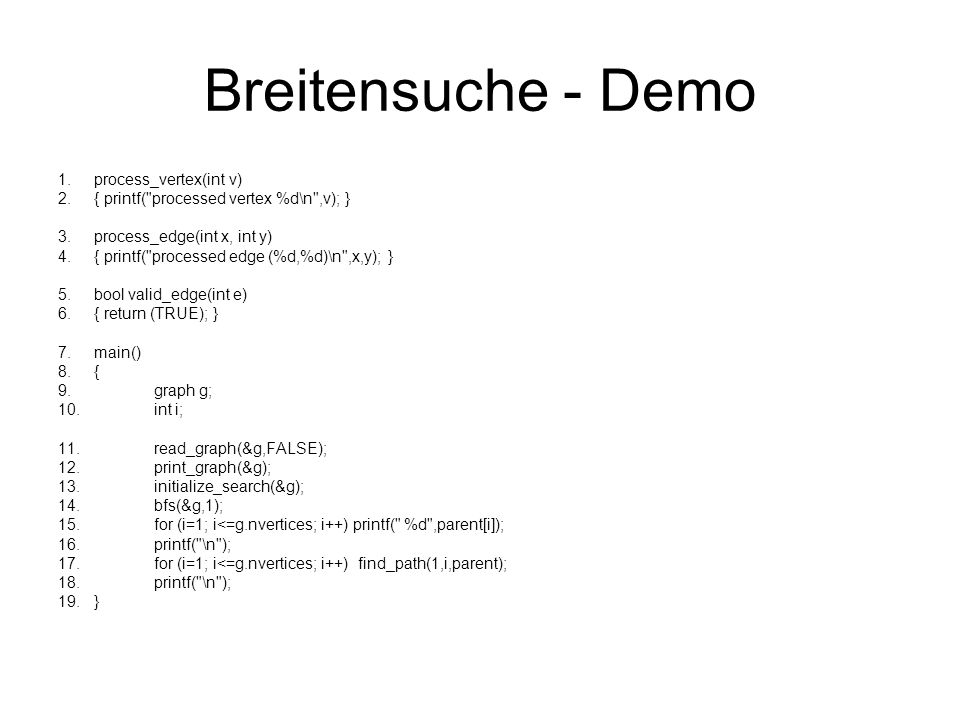 Breitensuche - Demo 1.process_vertex(int v) 2.{ printf(