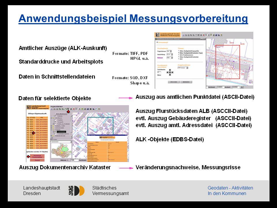 Landeshauptstadt Dresden Städtisches Vermessungsamt Geodaten - Aktivitäten In den Kommunen Anwendungsbeispiel Messungsvorbereitung