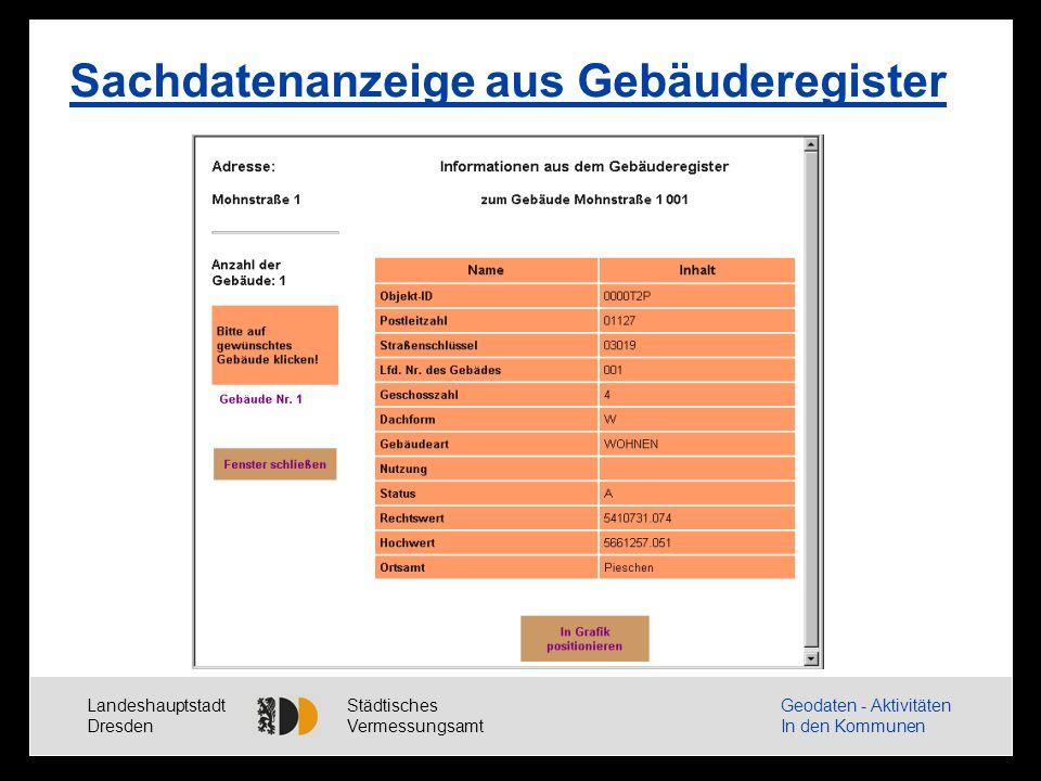 Landeshauptstadt Dresden Städtisches Vermessungsamt Geodaten - Aktivitäten In den Kommunen Anwendung Luftbildplan