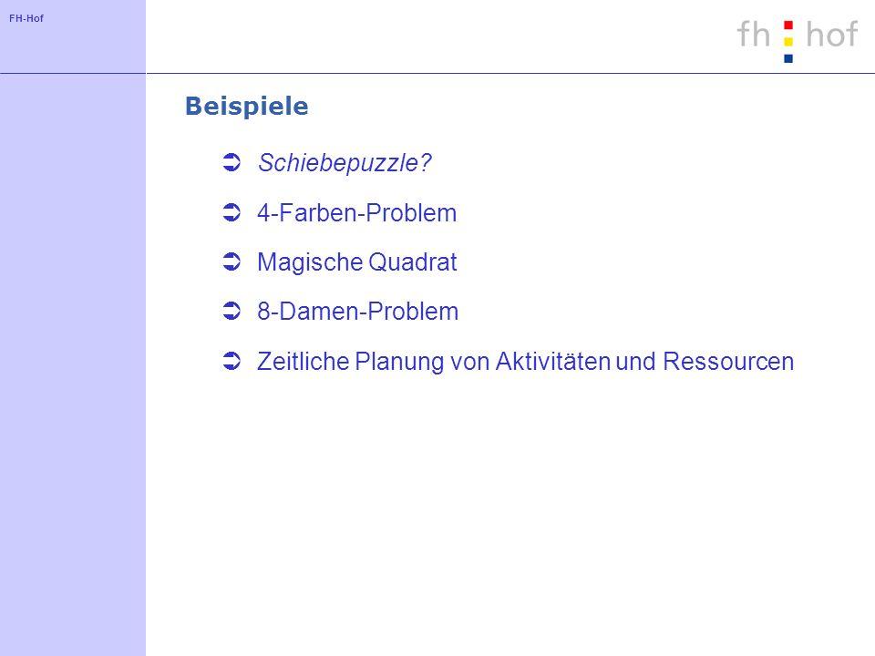 FH-Hof Beispiele Schiebepuzzle? 4-Farben-Problem Magische Quadrat 8-Damen-Problem Zeitliche Planung von Aktivitäten und Ressourcen