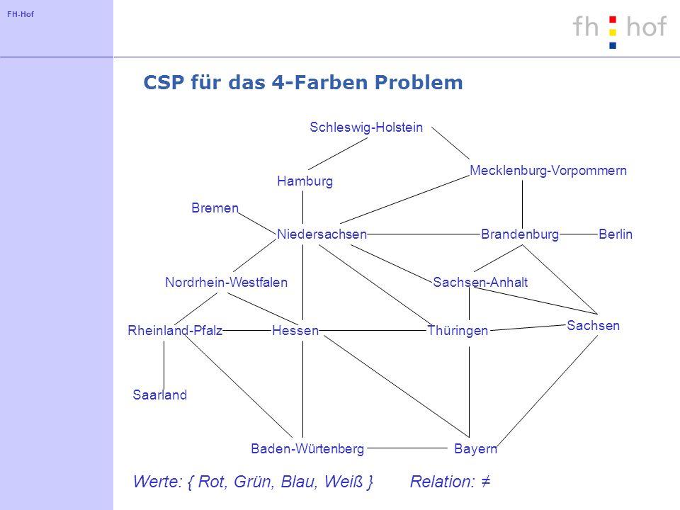 FH-Hof CSP für das 4-Farben Problem Schleswig-Holstein Hamburg Bremen Niedersachsen Mecklenburg-Vorpommern BrandenburgBerlin Nordrhein-WestfalenSachse