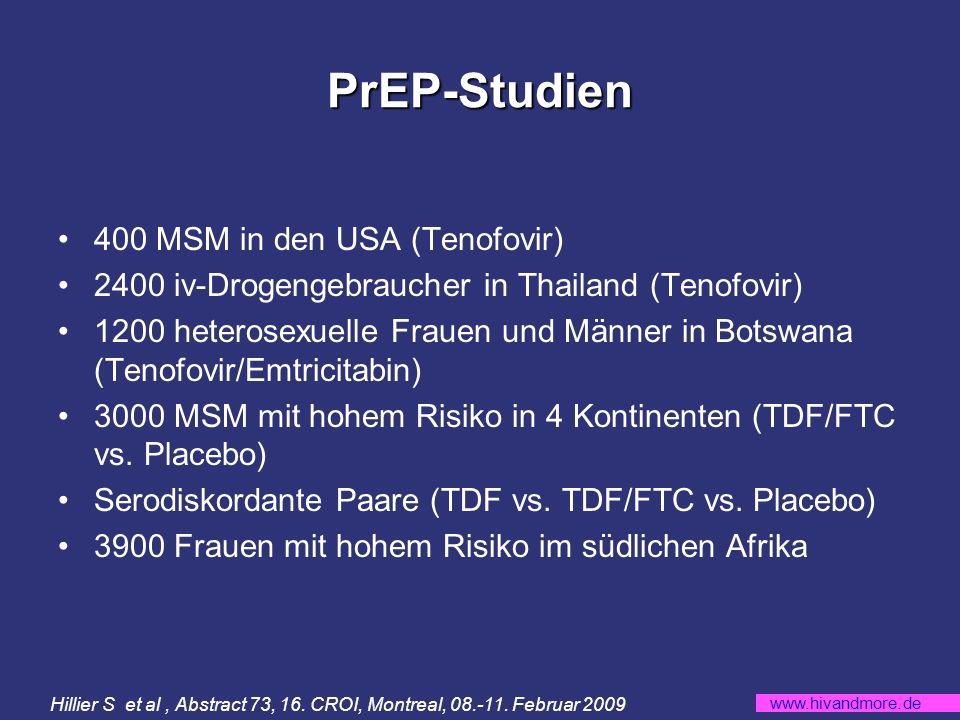 www.hivandmore.de PrEP-Studien 400 MSM in den USA (Tenofovir) 2400 iv-Drogengebraucher in Thailand (Tenofovir) 1200 heterosexuelle Frauen und Männer in Botswana (Tenofovir/Emtricitabin) 3000 MSM mit hohem Risiko in 4 Kontinenten (TDF/FTC vs.