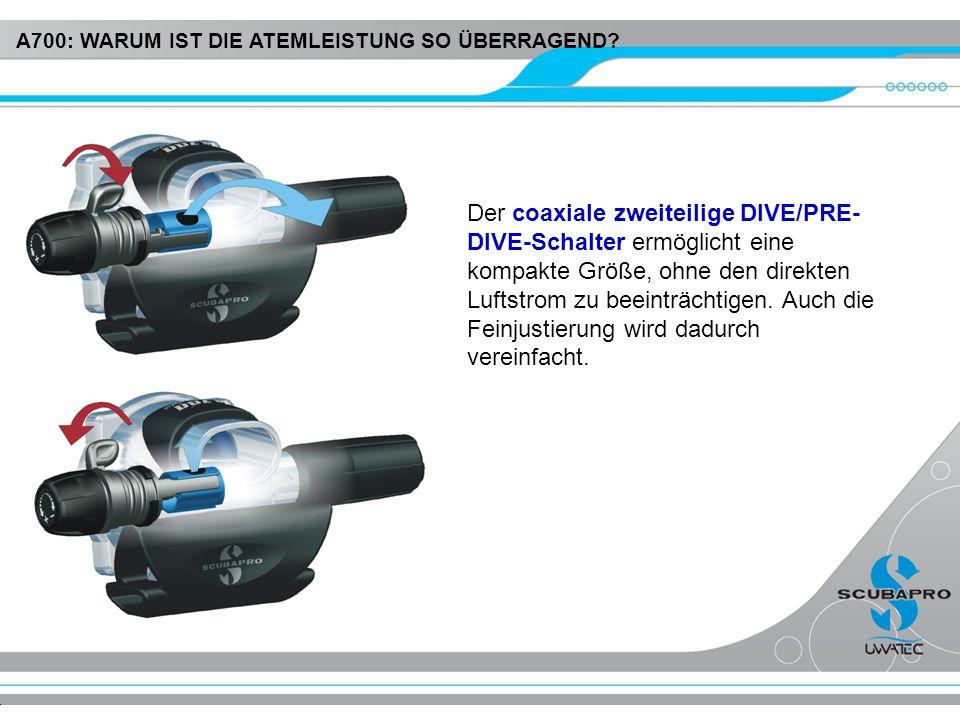 Der coaxiale zweiteilige DIVE/PRE- DIVE-Schalter ermöglicht eine kompakte Größe, ohne den direkten Luftstrom zu beeinträchtigen. Auch die Feinjustieru