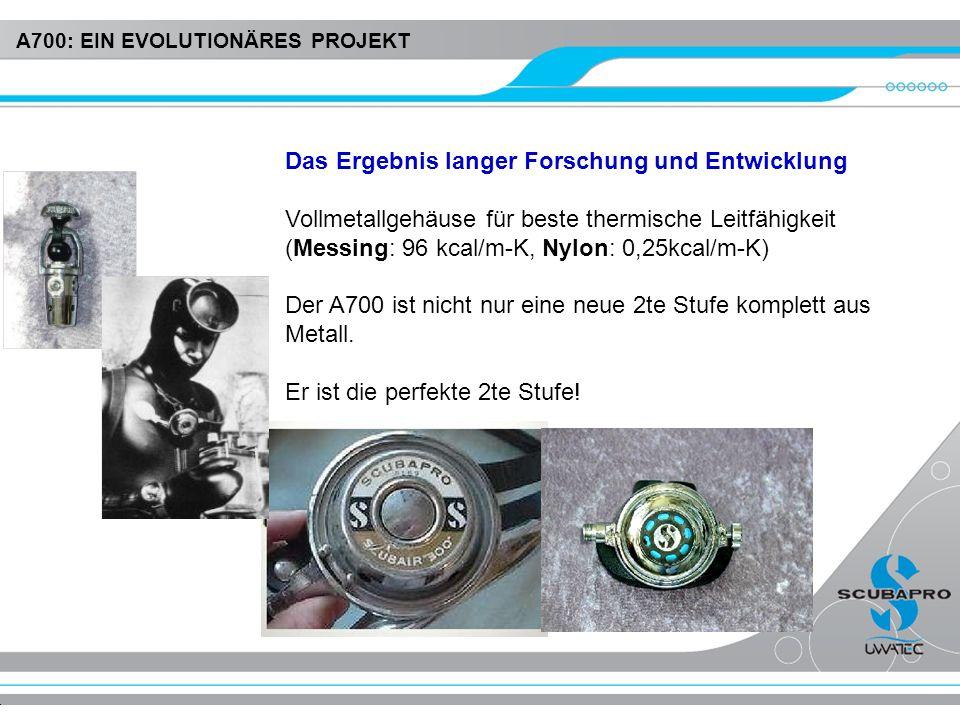 Das Ergebnis langer Forschung und Entwicklung Vollmetallgehäuse für beste thermische Leitfähigkeit (Messing: 96 kcal/m-K, Nylon: 0,25kcal/m-K) Der A70