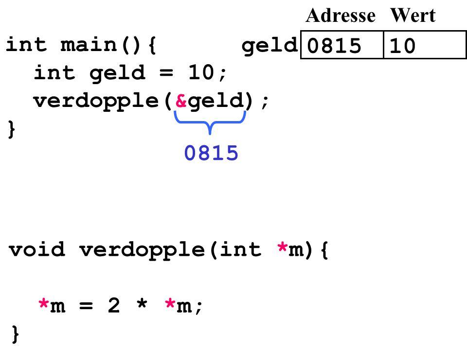 int main(){ int geld = 10; verdopple(&geld); } 0815 void verdopple(int *m){ *m = 2 * *m; } 0815 10 AdresseWert geld