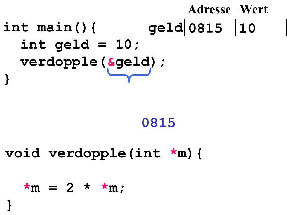 int main(){ int geld = 10; verdopple(&geld); } void verdopple(int *m){ *m = 2 * *m; } 0815 10 AdresseWert geld 0815