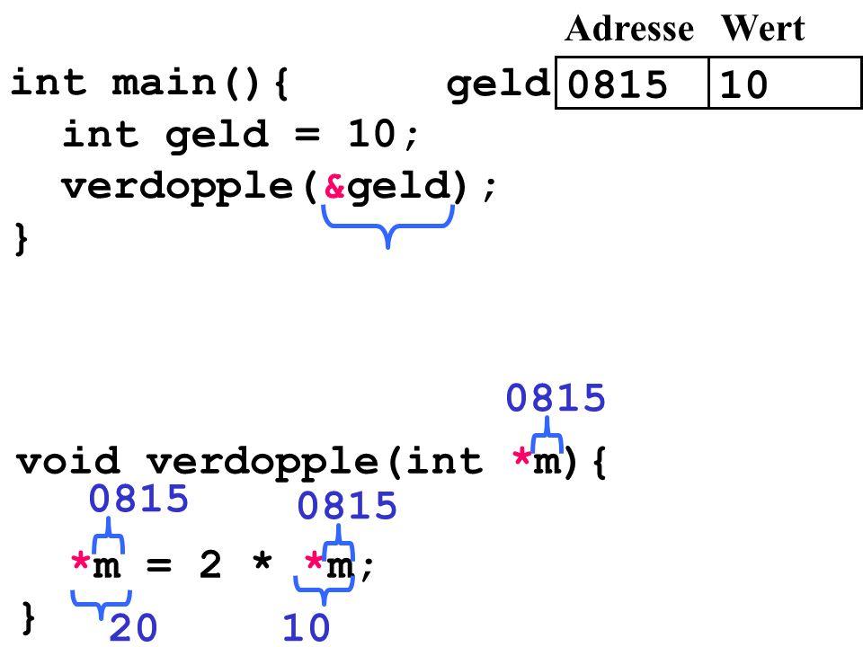 int main(){ int geld = 10; verdopple(&geld); } 0815 void verdopple(int *m){ *m = 2 * *m; } 0815 1020 0815 10 AdresseWert geld