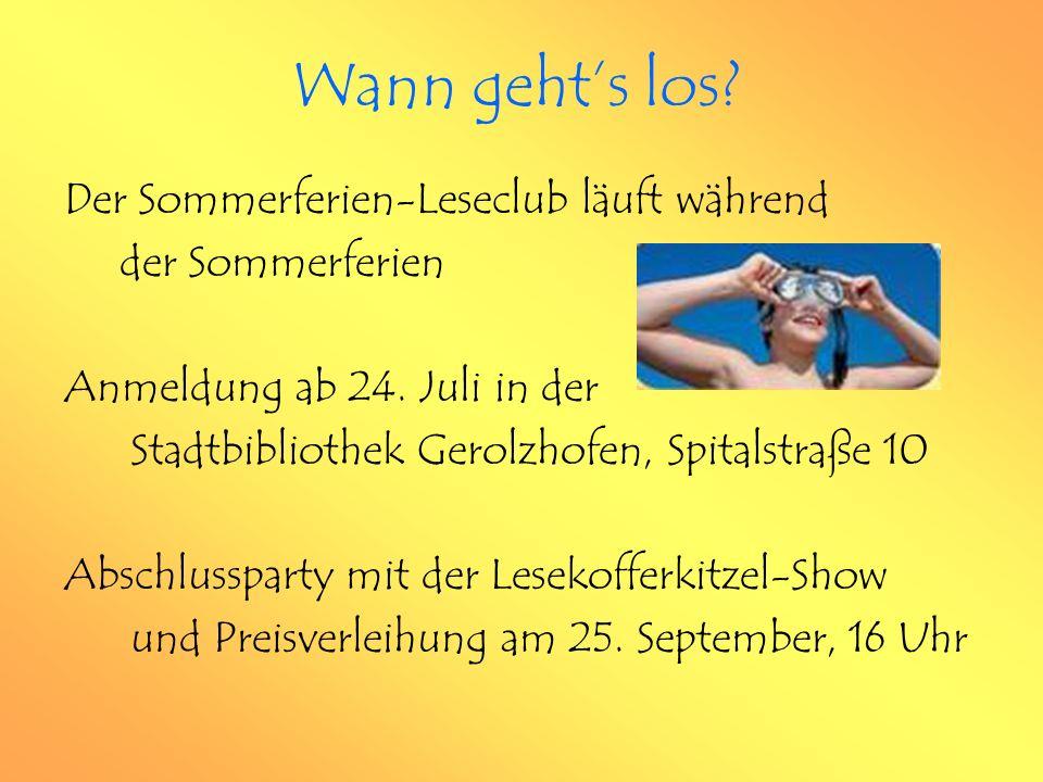 Der Sommerferien-Leseclub läuft während der Sommerferien Anmeldung ab 24.