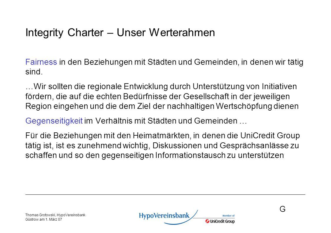 G Thomas Grotowski, HypoVereinsbank Güstrow am 1.März 07 Zusammenarbeit - Was machen Banken.