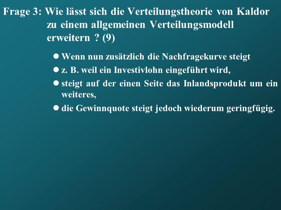 Frage 3: Wie lässt sich die Verteilungstheorie von Kaldor zu einem allgemeinen Verteilungsmodell erweitern ? (9) Wenn nun zusätzlich die Nachfragekurv