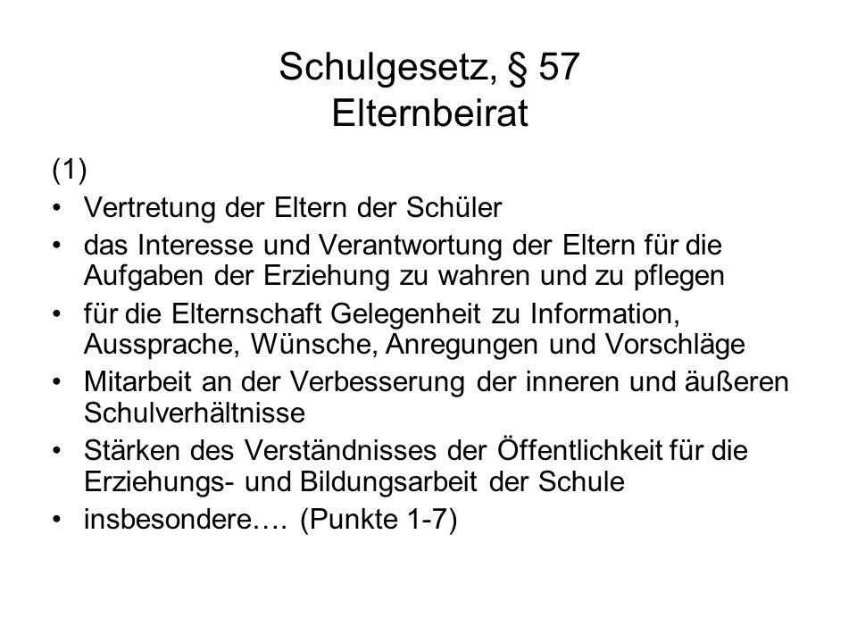 Schulgesetz, § 57 Elternbeirat (1) Vertretung der Eltern der Schüler das Interesse und Verantwortung der Eltern für die Aufgaben der Erziehung zu wahr
