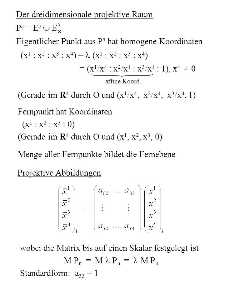 3.3 Projektionen 3D-Objekt 2D-Bildschirm Abbildung eines Punktes unter Zentralprojektion geg.: (1) Bildebene, Projektionszentrum Z 0 (Z 0 ) (2) Punkt P Z Abb.vorschrift: Die projizierende Gerade durch Z 0 und P (Sehstrahl) ist mit der Ebene zu schneiden.