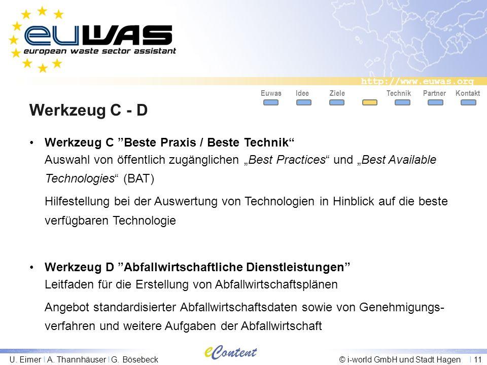 http://www.euwas.org U. Eimer I A. Thannhäuser I G. Bösebeck© i-world GmbH und Stadt Hagen I 11 Werkzeug C - D EuwasIdeeZielePartnerKontakt Werkzeug C