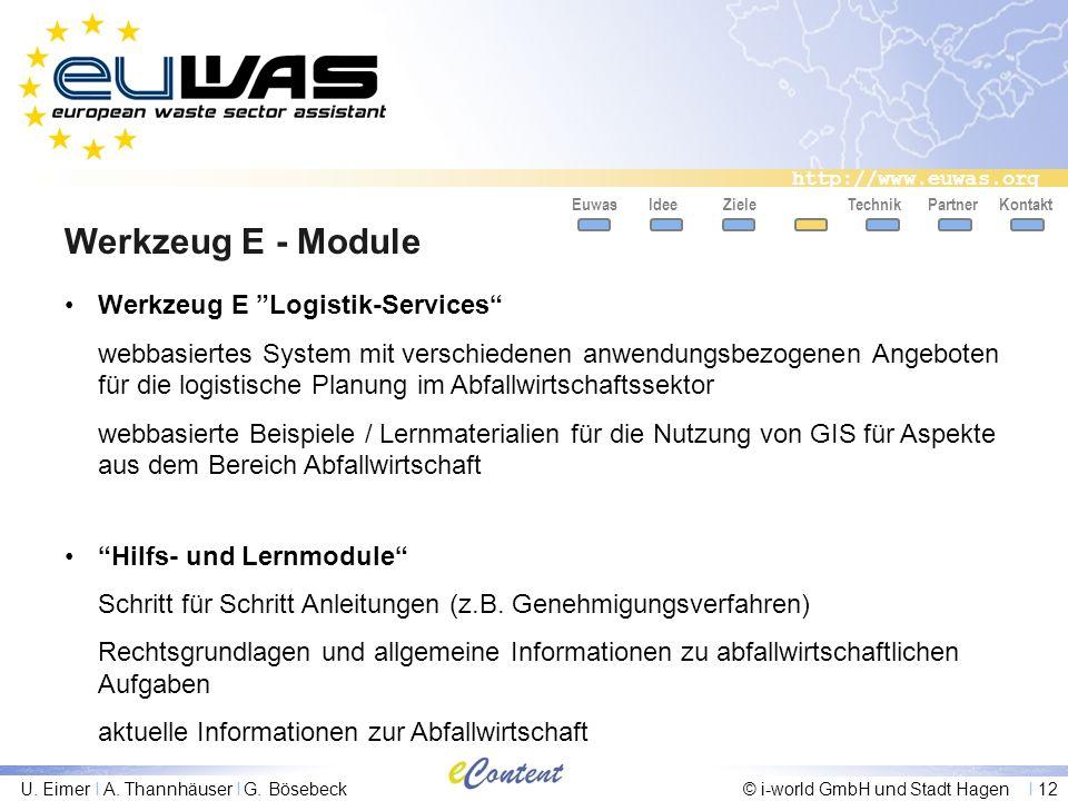 http://www.euwas.org U. Eimer I A. Thannhäuser I G. Bösebeck© i-world GmbH und Stadt Hagen I 12 Werkzeug E - Module EuwasIdeeZieleTechnikPartnerKontak