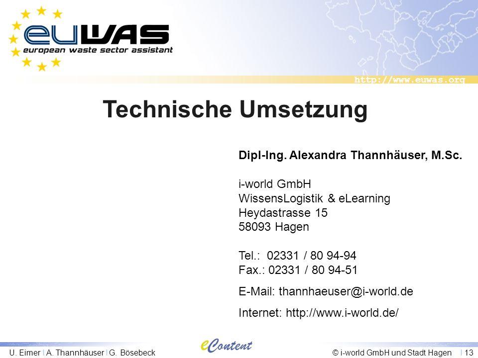 http://www.euwas.org U. Eimer I A. Thannhäuser I G. Bösebeck© i-world GmbH und Stadt Hagen I 13 Technische Umsetzung Dipl-Ing. Alexandra Thannhäuser,