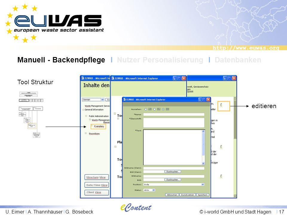 http://www.euwas.org U. Eimer I A. Thannhäuser I G. Bösebeck© i-world GmbH und Stadt Hagen I 17 Tool Struktur editieren Tool D Wastemanagement Service