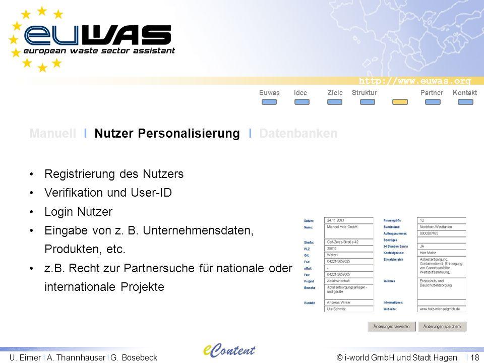 http://www.euwas.org U. Eimer I A. Thannhäuser I G. Bösebeck© i-world GmbH und Stadt Hagen I 18 PartnerKontaktEuwasIdeeZieleStruktur Manuell I Nutzer