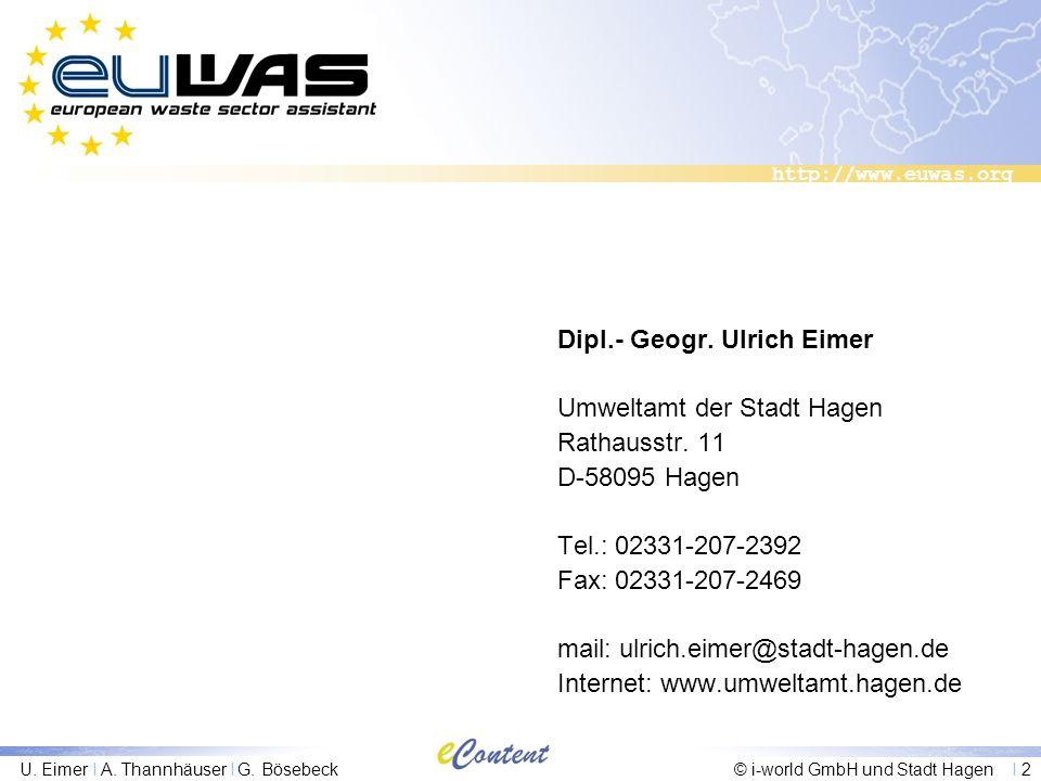 http://www.euwas.org U. Eimer I A. Thannhäuser I G. Bösebeck© i-world GmbH und Stadt Hagen I 2 Dipl.- Geogr. Ulrich Eimer Umweltamt der Stadt Hagen Ra
