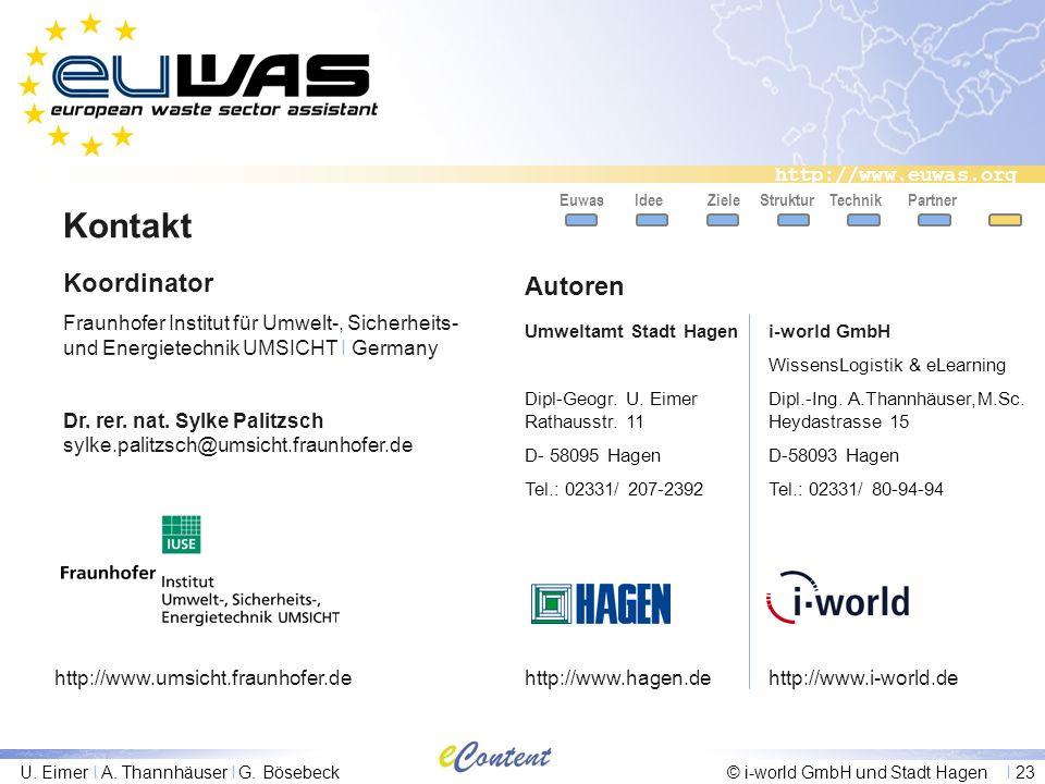 http://www.euwas.org U. Eimer I A. Thannhäuser I G. Bösebeck© i-world GmbH und Stadt Hagen I 23 Kontakt Partner Koordinator Fraunhofer Institut für Um