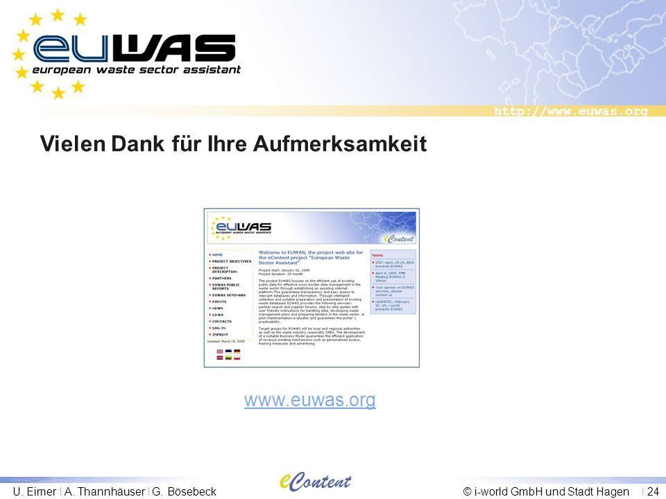 http://www.euwas.org U. Eimer I A. Thannhäuser I G. Bösebeck© i-world GmbH und Stadt Hagen I 24 Vielen Dank für Ihre Aufmerksamkeit www.euwas.org