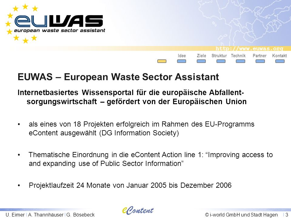 http://www.euwas.org U. Eimer I A. Thannhäuser I G. Bösebeck© i-world GmbH und Stadt Hagen I 3 EUWAS – European Waste Sector Assistant IdeeZieleStrukt