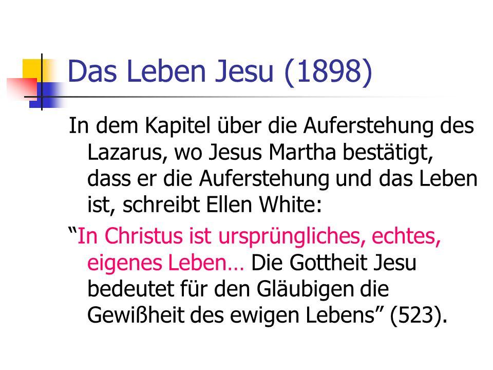 Das Leben Jesu (1898) In dem Kapitel über die Auferstehung des Lazarus, wo Jesus Martha bestätigt, dass er die Auferstehung und das Leben ist, schreib