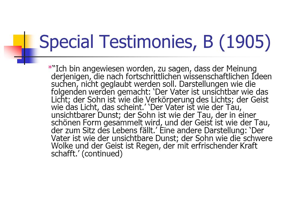 Special Testimonies, B (1905) *Ich bin angewiesen worden, zu sagen, dass der Meinung derjenigen, die nach fortschrittlichen wissenschaftlichen Ideen s