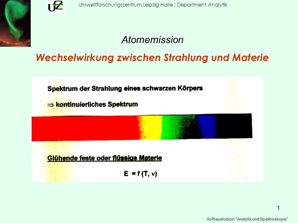 12 Umweltforschungszentrum Leipzig-Halle ; Department Analytik Aufbaustudium Analytik und Spektroskopie Grundlagen der Atomemission Beispiel Ionisierungsgrad α = N+ / (N + N+) = N+ / N gesamt Α als Funktion von T ElementE i [eV]T :3000 K4000 K6000 K8000 K K4.34 1.8 3 40 85 Ca6.11 0.01 0.5 8 46 Zn9.39 10 -8 10 -2 0.5 4