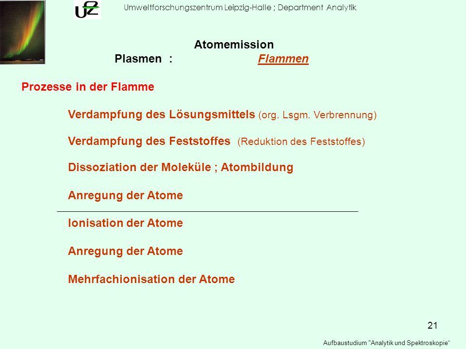 21 Umweltforschungszentrum Leipzig-Halle ; Department Analytik Aufbaustudium