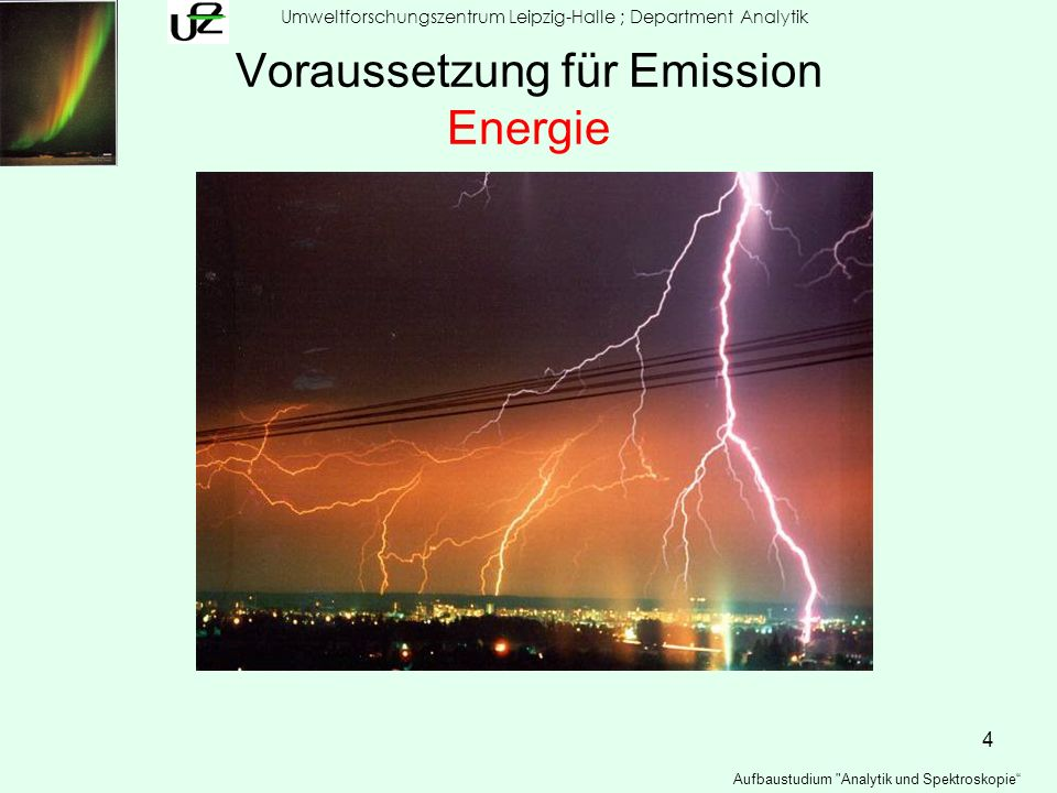 5 2 – Stufen -Prozess h exitation de-excitation unteres Niveau (E 1 ) höheres Niveau (E 2 ) Energie Umweltforschungszentrum Leipzig-Halle ; Department Analytik Aufbaustudium Analytik und Spektroskopie