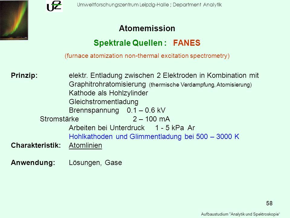 58 Umweltforschungszentrum Leipzig-Halle ; Department Analytik Aufbaustudium