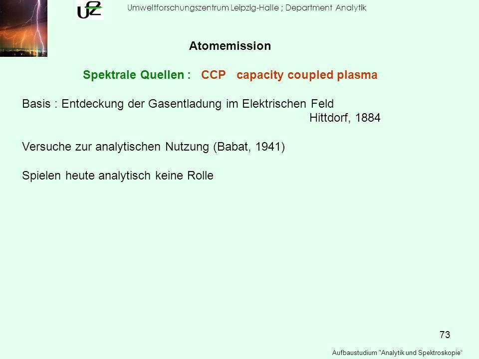 73 Umweltforschungszentrum Leipzig-Halle ; Department Analytik Aufbaustudium