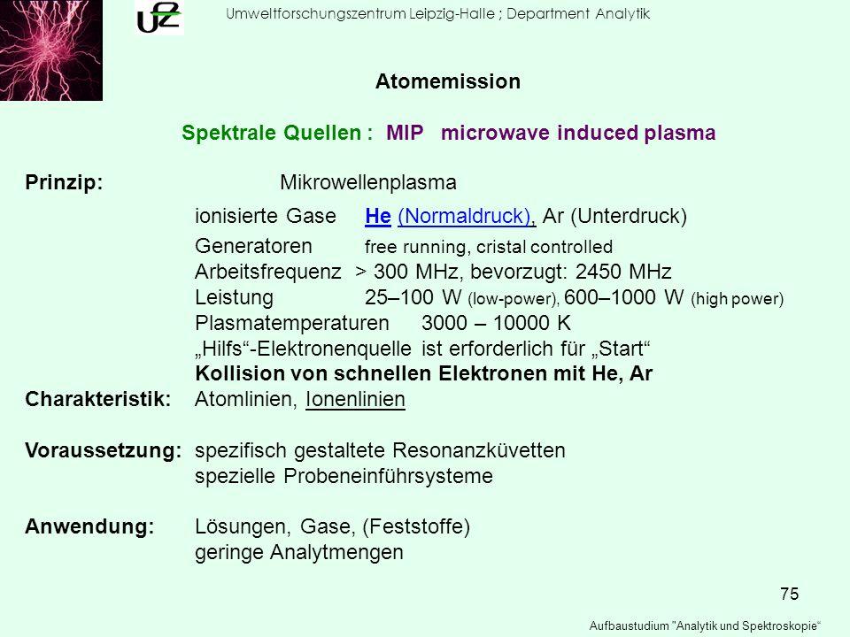 75 Umweltforschungszentrum Leipzig-Halle ; Department Analytik Aufbaustudium