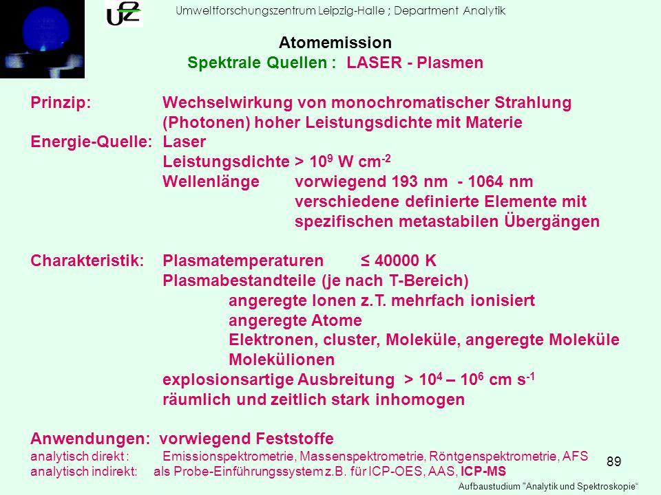 89 Umweltforschungszentrum Leipzig-Halle ; Department Analytik Aufbaustudium