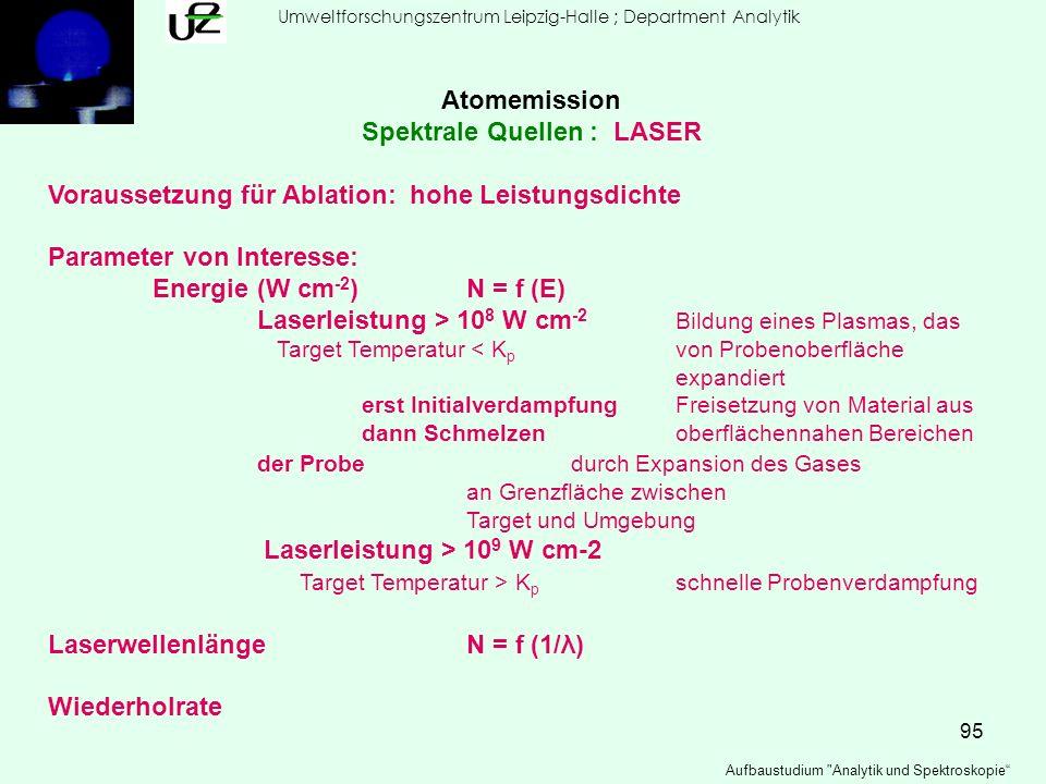 95 Umweltforschungszentrum Leipzig-Halle ; Department Analytik Aufbaustudium