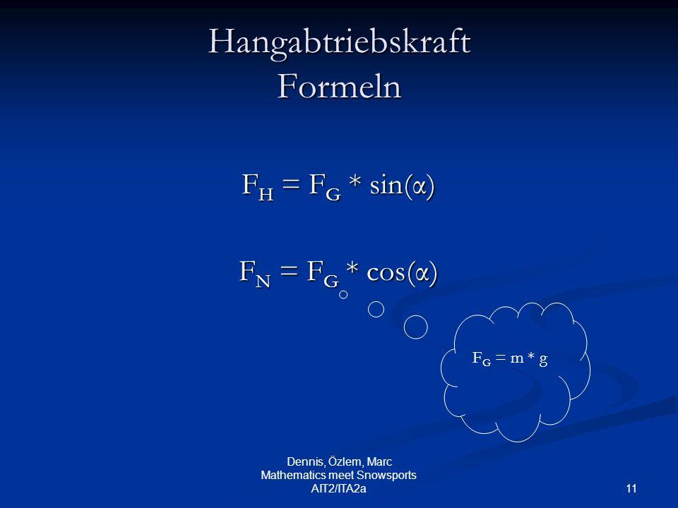 11 Dennis, Özlem, Marc Mathematics meet Snowsports AIT2/ITA2a Hangabtriebskraft Formeln F H = F G * sin(α) F N = F G * cos(α) F G = m * g