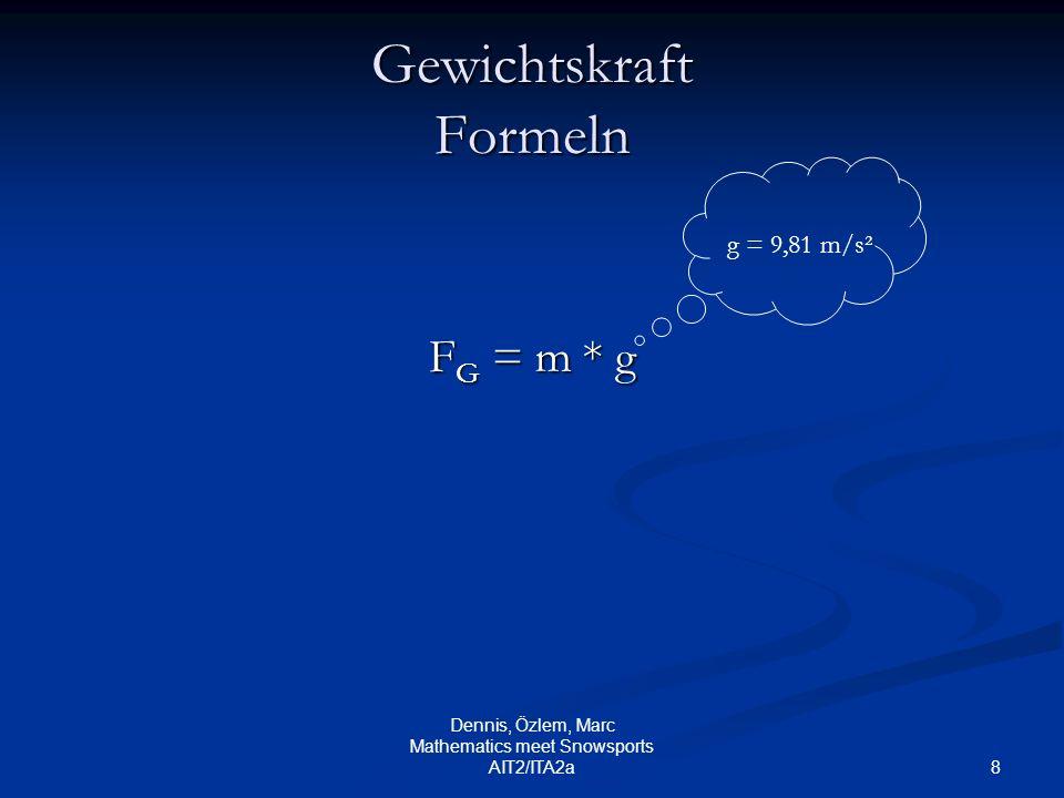 8 Dennis, Özlem, Marc Mathematics meet Snowsports AIT2/ITA2a Gewichtskraft Formeln F G = m * g g = 9,81 m/s²