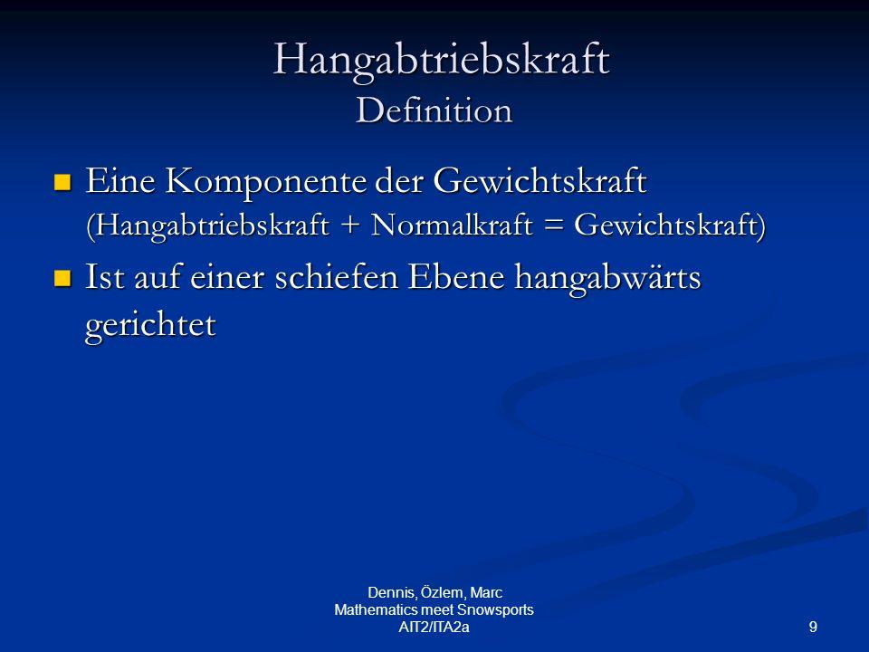 9 Dennis, Özlem, Marc Mathematics meet Snowsports AIT2/ITA2a Hangabtriebskraft Definition Eine Komponente der Gewichtskraft (Hangabtriebskraft + Norma