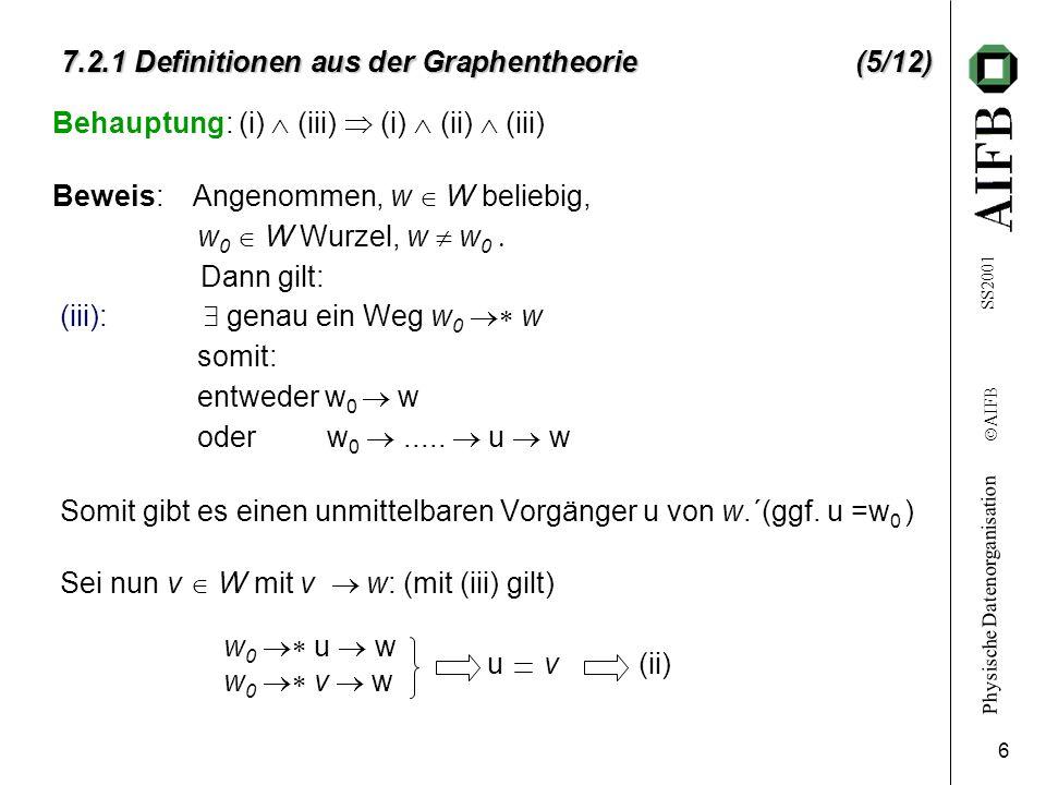 Physische Datenorganisation Ó AIFB SS2001 6 7.2.1 Definitionen aus der Graphentheorie(5/12) 7.2.1 Definitionen aus der Graphentheorie (5/12) Behauptun
