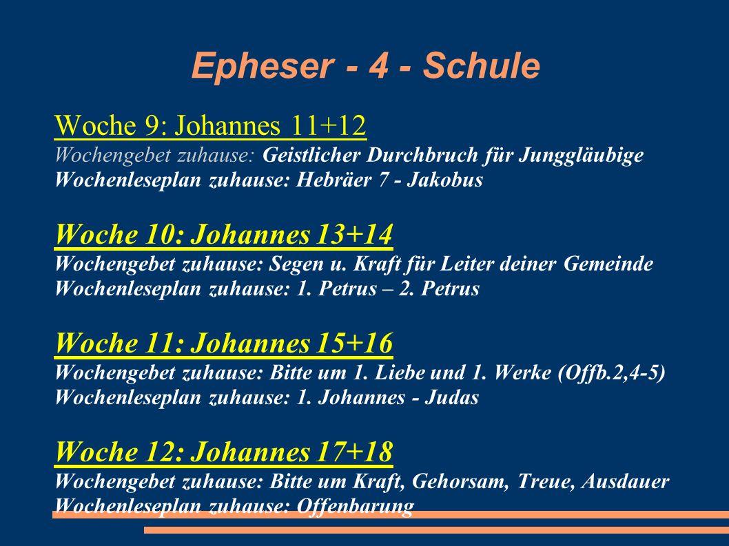 Epheser - 4 - Schule Woche 9: Johannes 11+12 Wochengebet zuhause: Geistlicher Durchbruch für Junggläubige Wochenleseplan zuhause: Hebräer 7 - Jakobus
