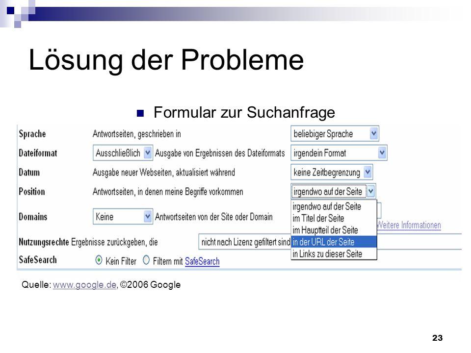 23 Lösung der Probleme Formular zur Suchanfrage Quelle: www.google.de, ©2006 Googlewww.google.de Quelle: www.google.de, ©2006 Googlewww.google.de
