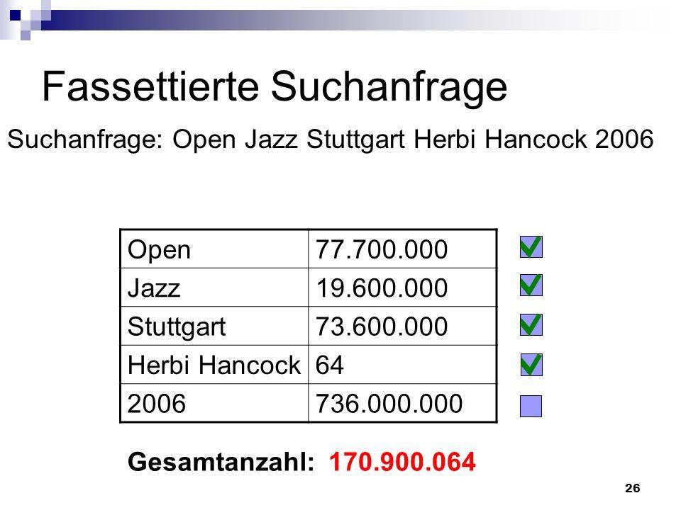 26 Fassettierte Suchanfrage Suchanfrage: Open Jazz Stuttgart Herbi Hancock 2006 170.900.064Gesamtanzahl: Open77.700.000 Jazz19.600.000 Stuttgart73.600
