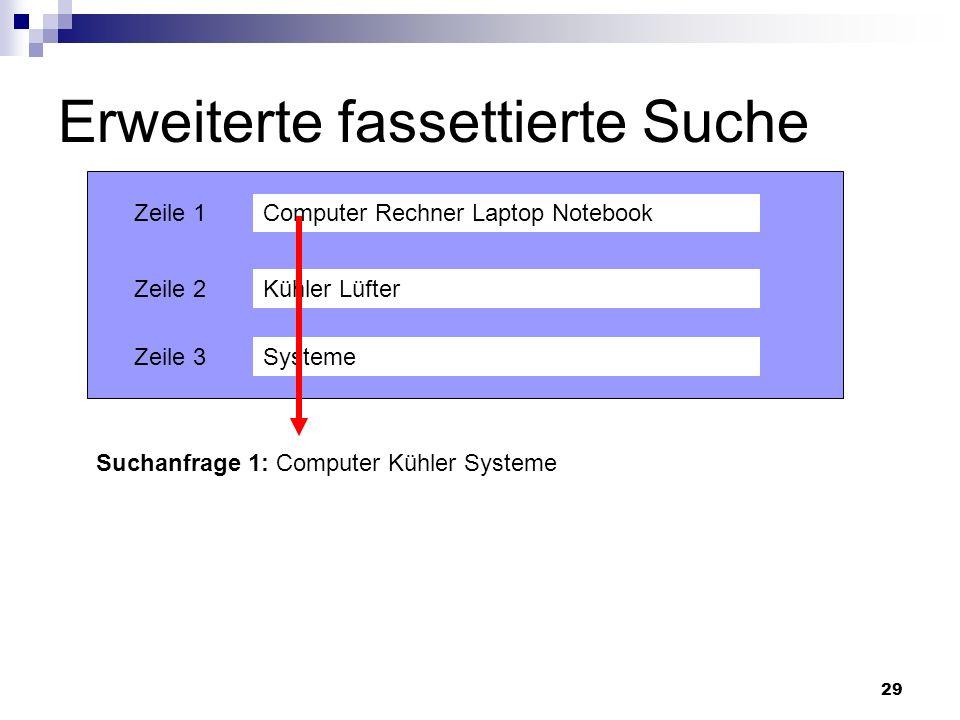 29 Erweiterte fassettierte Suche Computer Rechner Laptop Notebook Kühler Lüfter Systeme Zeile 1 Zeile 2 Zeile 3 Suchanfrage 1: Computer Kühler Systeme