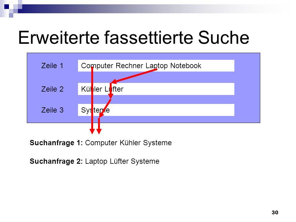 30 Erweiterte fassettierte Suche Computer Rechner Laptop Notebook Kühler Lüfter Systeme Zeile 1 Zeile 2 Zeile 3 Suchanfrage 1: Computer Kühler Systeme